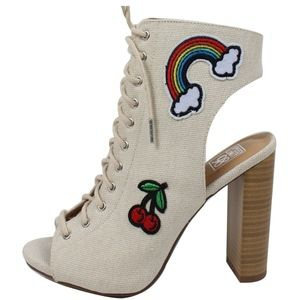 Shoes - Beige Canvas Embroidery Patch Block Heel Boot